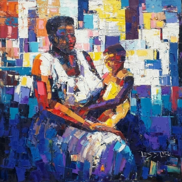 Sweet Mother 45in x 45in Oil Canvas