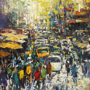 Thick Of The Crowd 48in x 48in Oil Canvas